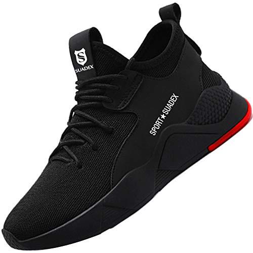 BAOLESEM Sicherheitsschuhe Herren Arbeitsschuhe Damen S3 Sportlich Leicht Atmungsaktiv Schutzschuhe Stahlkappe Schuhe, 01 Schwarz, 43 EU