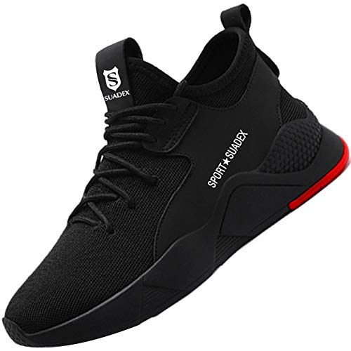 Zapatos de Seguridad Hombre con Punta de Acero, Cómodas Ultraligero & Transpirables, 36-48 (01 Negro, Numeric_43)