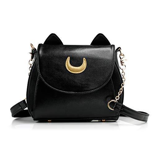 Oct17 Moon Luna Design Purse Kitty Cat satchel shoulder bag Designer Women Handbag Tote PU Leather Girls Teens School Sailer Style (Black)
