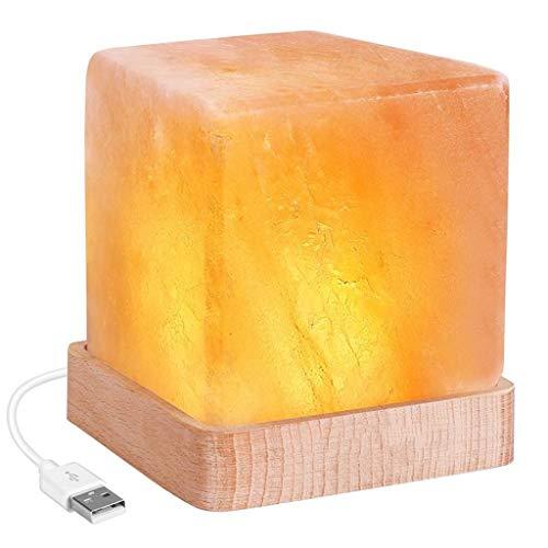 SHIJIE1701AA Pasillo luz de Noche Estudio Dormitorio Lámpara de Sal de Mesa Lámpara Lámpara de Sal luz de la Noche del USB Lámpara de Sal Relajarse y energético - Base de Madera Real Luz Nocturna