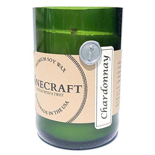 Recycled Wine Bottle Candle with Wooden Wick (Chardonnay)