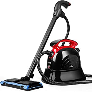 SIMBR Limpiador de Vapor Manual Vaporeta con Capacidad de 1100ml y Potencia de 1500W, 4.5 Bar, 13 Accesorios para Pisos, Alfombras Y Ventanas