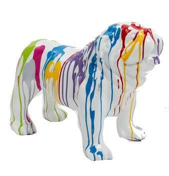 N.C - Estatua de resina decorativa de bulldog inglés (60 cm), color blanco
