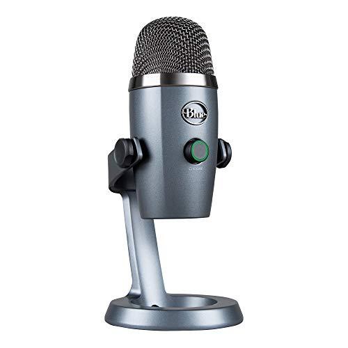 Blue Microphones Yeti Nano Micrófono USB de condensador profesional con múltiples patrones de captación y monitoreo, sin latencia, para grabación y transmisión en PC y Mac, color Gris