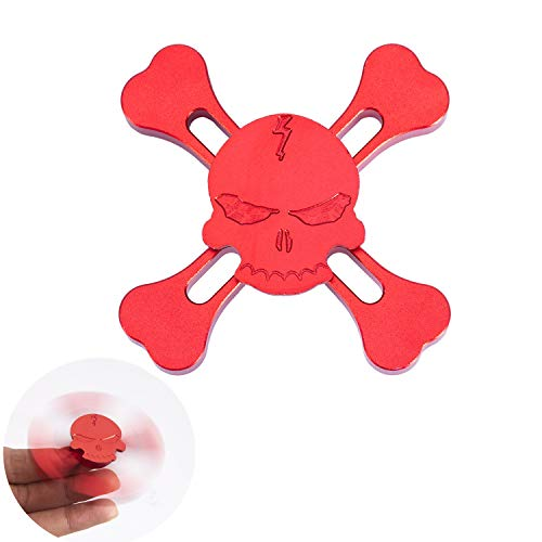 DoDoMagxanadu Skull Hand Fidget Spinner Metal Spinner Toy Focusing Fidget Toys Relievers Stress and Anxiety for Kids & Adults with ADHD Autism (Red)