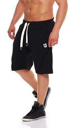 Gennadi Hoppe Herren Sweat Short Cotton Sweat Short Kurze Hose Bermuda Sweatpant Sport Shorts,schwarz/weiß,XL