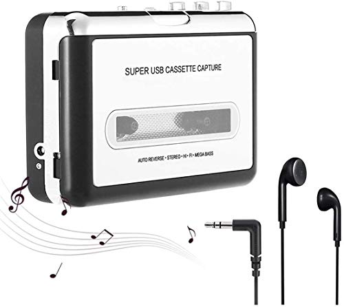 Registratore portatile e cassetta audio, walkman e convertitore di cassette audio in file MP3 digitali tramite USB, compatibile con Mac e Windows - Grigio argento