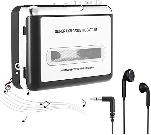 Registratore portatile e cassetta audio, walkman e convertitore di cassette audio in file MP3 digitali tramite USB, compatibile con Mac e Windows - Grigio argento