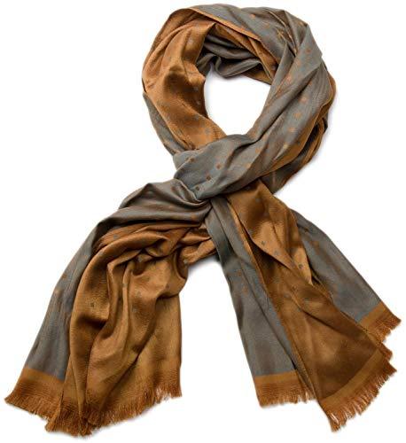 styleBREAKER edler weicher Schal mit Fransen und dezentem Quadrate Muster 01018051, Farbe:Braun-Grau