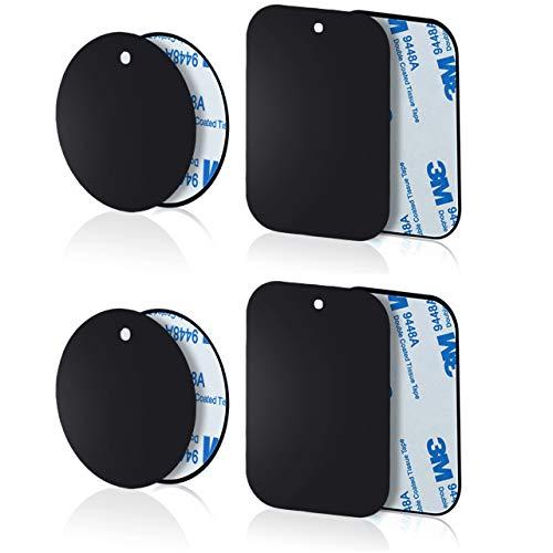 Yianerm 3M Adhesivo 8 Paquetes de Placa de Metal Delgada para Soporte magnético para teléfono de Coche (4 Redondo y 4 rectangulares)