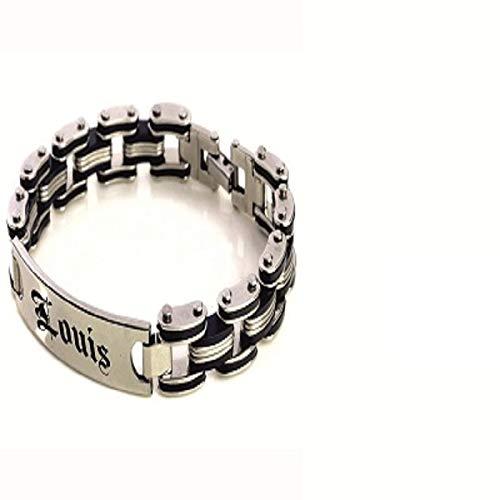 Pulsera personalizada de acero inoxidable de 215 mm, color negro, goma y acero inoxidable, para hombre