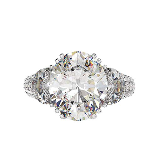 Gnzoe S925 Silver Ring for Women Studded with Oval Cut White Cubic Zirconia Engagement Ring White Size L 1/2