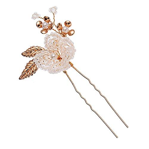 Boda estilo europeo y americano flor dorada hecho a mano cristal blanco perla tocado novia joyería hecha a mano peine para el cabello hembra-C1125KC inserción rubia pequeña
