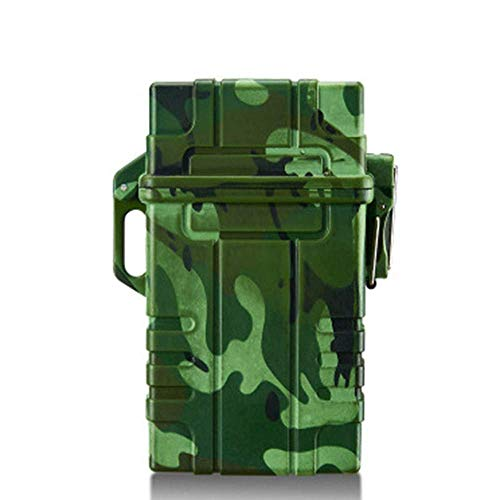 QULONG Cigarette Case Waterproof Moisture-Proof for Outdoor Camping Hiking Holds 20 Cigarette 11.2 * 8.1 * 3.3cm,Green