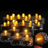 Realista 12Pcs / Set Luces LED de té operadas a Prueba de Agua Decoración Creativa del Banquete de Boda Decoración de la Mesa Luz de Vela sin Llama LED Brillante (Color: Amarillo)