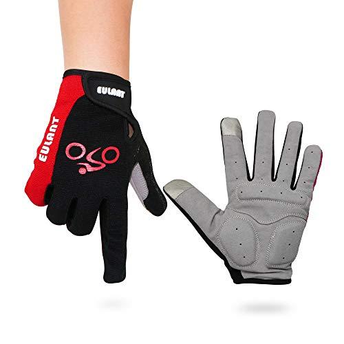 ONT Fahrradhandschuhe Fitness Handschuhe Damen Herren Trainingshandschuh Adjustable Sporthandschuhe für Radsport Camping Vollfinger Fahrradhandschuhe mit Touchscreen Geräte Rot/L