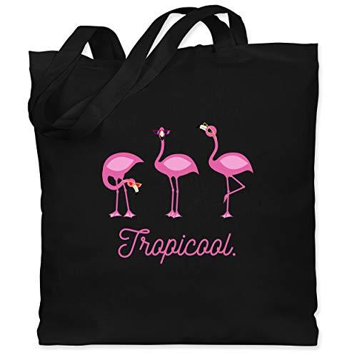 Shirtracer Vögel - Tropicool Flamingo Gang - Unisize - Schwarz - Wildtier - WM101 - Stoffbeutel aus Baumwolle Jutebeutel lange Henkel