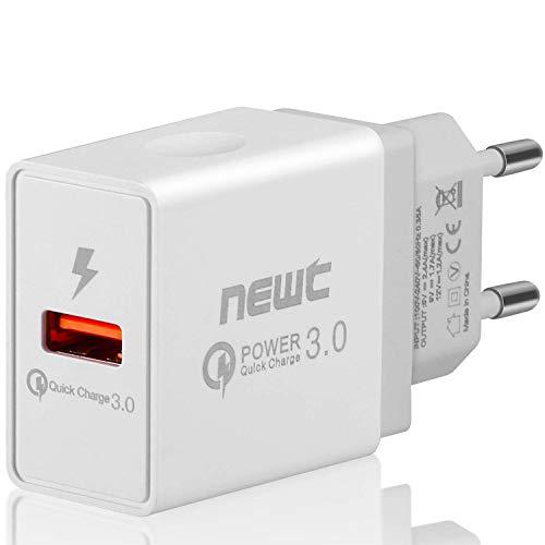 NEW'C, Cargador de Pared USB (Carga rápida USB 3.0 18 W) Ultra rápido Adaptador USB 3.0 para Samsung Galaxy S9/S8/Note 8, LG G5/G6, Nexus 5X/6P, iPhone, iPad Pro/Air, Moto G4, etc.