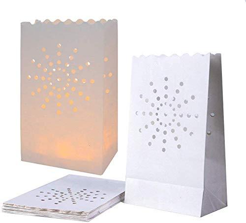 JAHEMU Sacchetti di candela Candle Bags Sacchetti Portacandele Luminari Lanterne di Carta Bianche per Compleanno Natale Matrimonio Festa Decorazione 20 Pezzi (Sole Motivo)