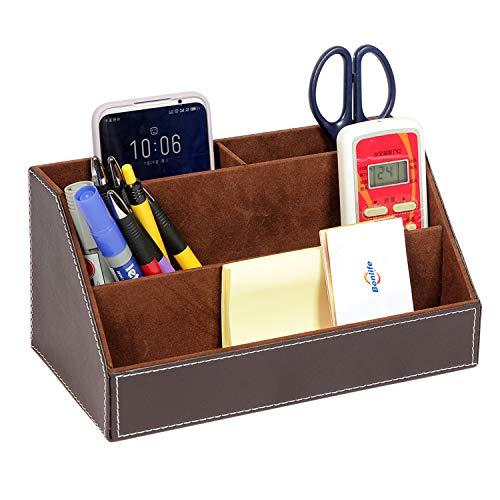 Bonlife Tisch Organizer Schreibtisch Multifunktionale Bürobedarf Office Schreibwaren 4 Grid PU Leder Stiftehalter Stiftebox Lagerung 24x13x12cm Braun