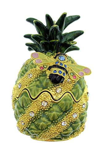 Kubla Crafts Enameled Bejeweled Pineapple And Bee Trinket Box, Accented with Austrian Crystals