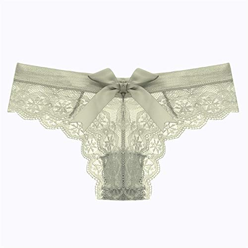 Women Lingerie Lace Underwear Femal Thong Transparent Knickers (Color : Green, Size : Large)