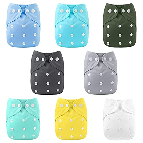 YOOFOSS Baby Cloth Diapers One Size Adjustable (18-24 Mos) Washable Reusable Pocket Cloth Diapers for Baby Girls and Boys 8 Pack with 8 Inserts