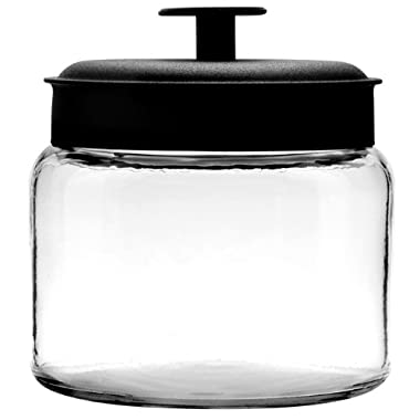 Anchor Hocking Montana Glass Jars with Fresh Sealed Lids, Black Metal, 48 oz (Set of 4) - 96710