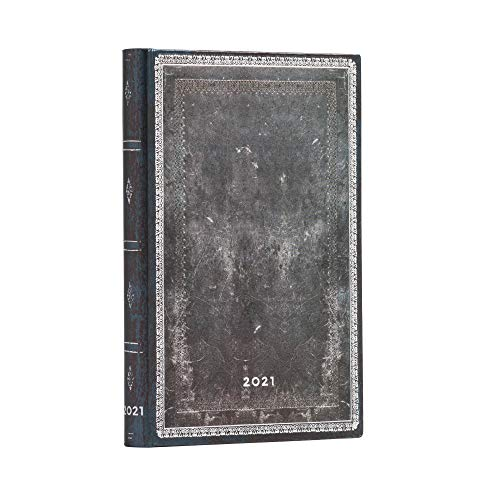 Paperblanks 12-Monatskalender 2021 Mitternachtsstahl | Horizontal | Mini (95 × 140 mm), DD6669-9