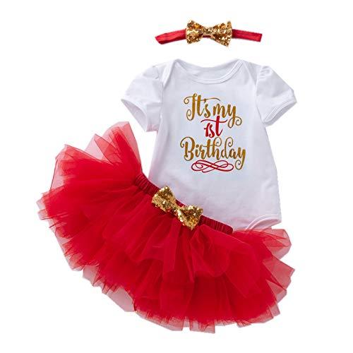 3 piezas de ropa de cumpleaños para bebés y niñas, vestido de algodón de manga corta + falda de tutú + diadema para tartas y princesas vestido de sesión de fotos