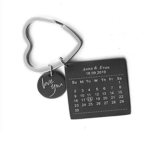 Jewelry meiqi Personalisierte Kalender Datum Schlüsselanhänger mit Gravur für Frauen Männer Memorial Hochzeitstag Geschenk