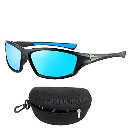 Flybiz Gafas de sol Polarizadas Para Hombres y Mujeres UV400 Protection, Aptos para Conducir, Pescar e Ir en bicicleta, Montura Envolvente Cómoda, Deportivo Polarizados-lente azul