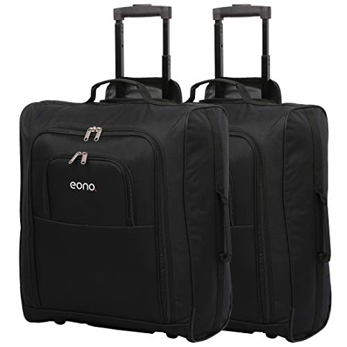 Eono easyJet, British Airways, Jet2 Maximum Cabin Approved Trolley Bag Hand Luggage, 56 cm, 60 L (2X Black)