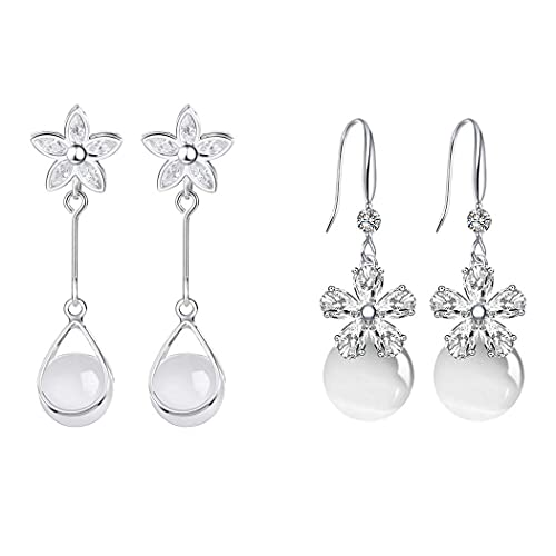 Aabellay 2 pares de pendientes colgantes de ópalo de plata elegantes pendientes largos de borla creados flor colgantes colgantes pendientes para mujeres y niñas cumpleaños damas de honor – lágrima