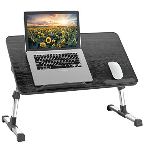 Rentliv Laptoptisch Betttablett, verstellbar Laptop Ständer mit faltbaren Beinen, tragbarer Schreibtisch zum Arbeiten, Schreiben, Zeichnen Laptop Ständer für Bett Sofa Couch Boden-Schwarz Große Größe