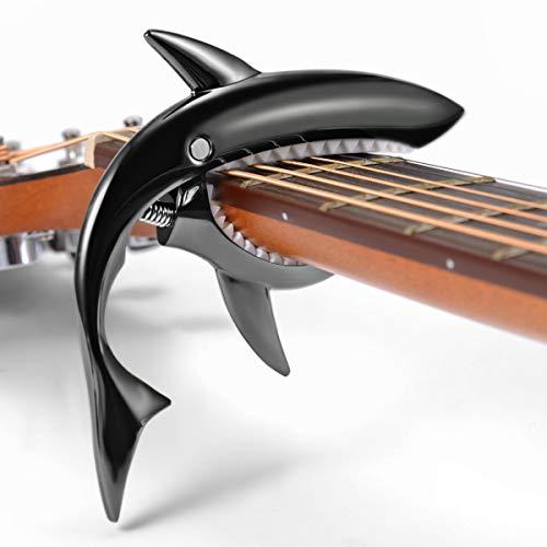 Gitarre Kapodaster für Akustikgitarre E-Gitarre Westerngitarre Ukulele 6+12-Saiten ,Festhalten,Weiche Auflage,Haifisch-Design