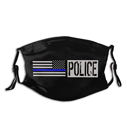 Thin Blue Line Police Flag Anti Dust Mouth Cover Face Scarf Bandanas Neck Gaiter with 2 Filter Washable and Reusable
