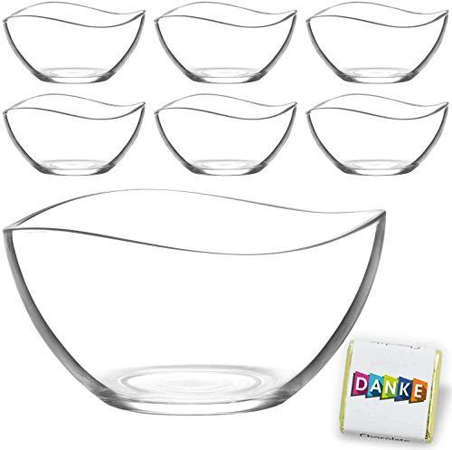 1 große & 6 kleine Glasschalen im Set, Design Snack Schalen Frühstück oder Party, Vorspeise Servier Glasschale, Dessertschale, Knabberschale aus Glas, lebensmittelechte Müsli Glasschüsseln (Vira)