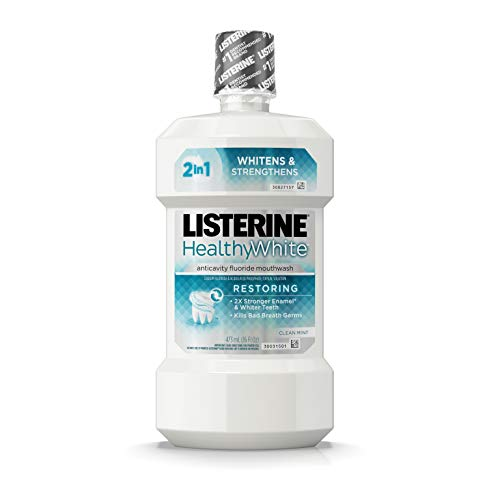 Listerine Healthy White Restoring Fluoride Mouth Rinse, Anticavity Mouthwash for Teeth Whitening, Bad Breath and Enamel Restoration, Clean Mint, 16 fl. Oz