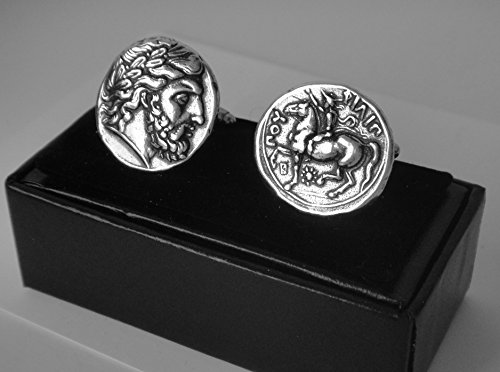 Golden Artifacts Zeus, King of The Gods, Minted by Phillip II, Greek Coins Cuff Links, Unique Gift, Greek Mythology (4C-S)