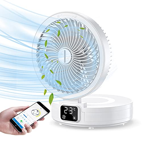 HxhyTope Portable Table Fan, USB Rechargeable 4 Speeds Strong Wind 100° Oscillating Air Circulator Foldable Desk Fan with 4 Modes Night Light for Camping Bedroom Office Travel