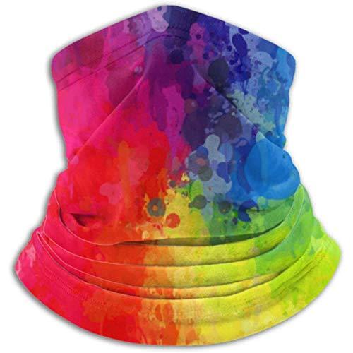 Linger In Neck Warmer Rainbow Bright Brush Spray Scarf, Neck Gaiter, Neck Cap Half Mask Balaclava Headwear