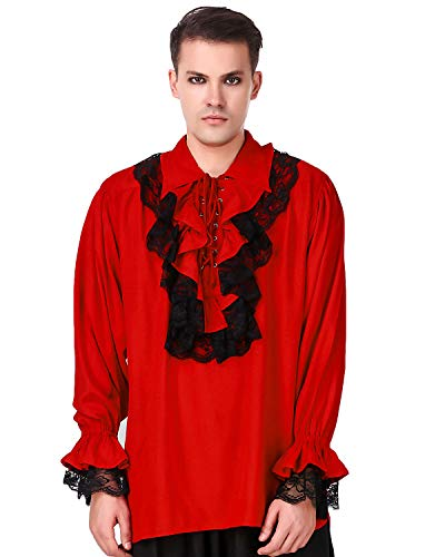 ThePirateDressing Medieval Renaissance Poet Cosplay Costume Roberto Cofresi Pirate Shirt [Red] (Large) C1003