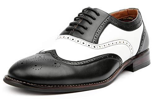Ferro Aldo Arthur MFA139001D Mens Wingtip Two Tone Oxford Black and White Spectator Dress Shoes - Black, Size 10.5