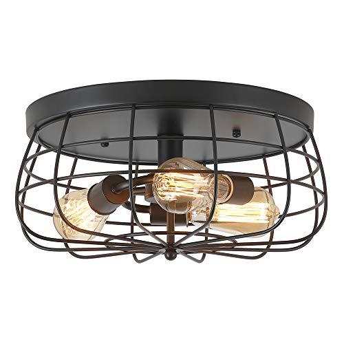 ZZ Joakoah Industrial 3-Light Rustic Semi Flush Mount Ceiling Light, Metal Cage...