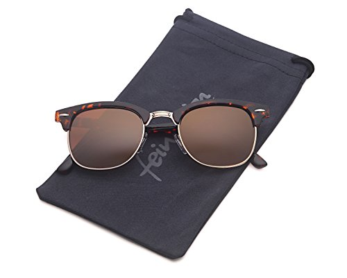 Vintage Sonnenbrille im angesagten 60er retro Style mit markantem Halbrahmen in Hornoptik, auch für schmalere Gesichter, braun leo ohne verlauf