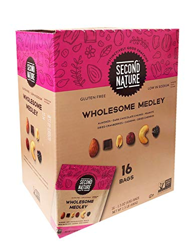 Second Nature New Gluten Free Medley Trail Mix Family Size Box 1 Bpx (16bags) (Wholesome Medley)