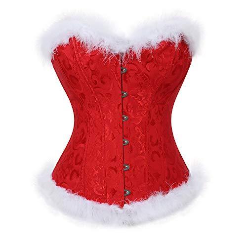 frawirshau Christmas Corset Sexy Santa Lingerie for Women Corsets Bustier Corset Top Red 3XL