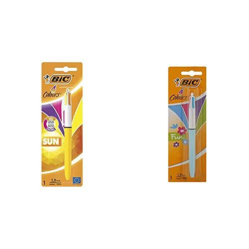 BIC 4 Sun Retractable Bolígrafos retráctiles, punta media (1.0 mm), modernos, blíster de 1 unidad + 4 Fun Bolígrafo Retráctil punta media (1,0 mm) – Cartuchos de Tinta Multicolor, 1 Unidad