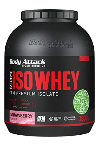 Body Attack Extreme Iso Whey, Whey Protein Pulver zum Muskelaufbau aus 100% irischer Weidemilch, fettarmes Eiweißpulver ohne Aspartam (Strawberry, 1,8 kg)